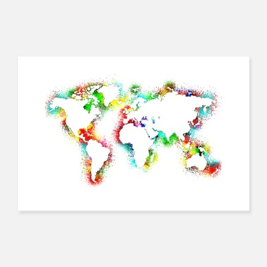 Map Watercolor map world map - Poster 24 x 16 (60x40 cm)