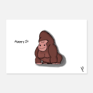 Singe Anthropoïde Happy J's Gorilla Thomek - Poster 60 x 40 cm