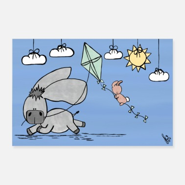 Day Happy J's Donkey et le lapin Happy Day - Poster 60 x 40 cm