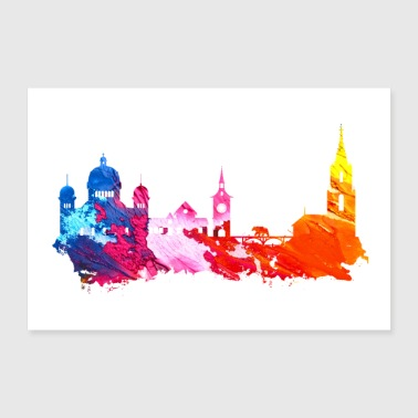 Tourist Bern Colorful Skyline Gift Idea Poster - Poster 24 x 16 (60x40 cm)