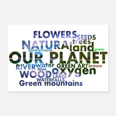 Environmental words with white background photo - Poster 24 x 16 (60x40 cm)