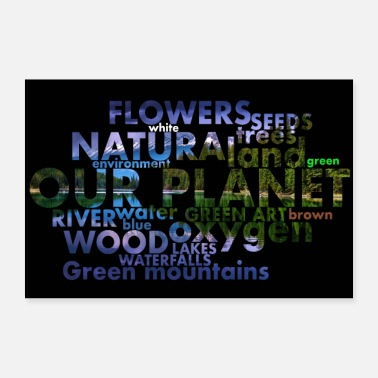 Words from the planet earth with landscape photo - Poster 24 x 16 (60x40 cm)