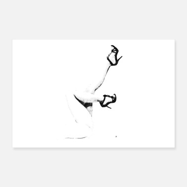 Beautiful sexy legs n shoes design in black and white poster - Poster 24 x 16 (60x40 cm)