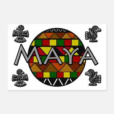 Culture Mayan circle icons - Poster 24 x 16 (60x40 cm)