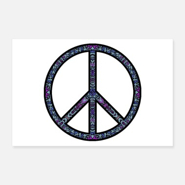 Peace Sign Hippie Peace Sign with blue pattern - Poster