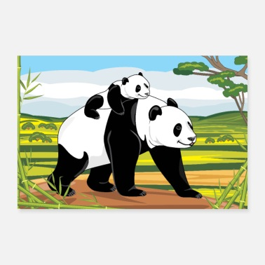 Panda Cub Panda mom and her baby on the landscape background - Poster