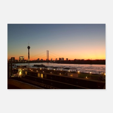 Rhine Lights, sunset, Rhine, Dusseldorf, skyline - Poster