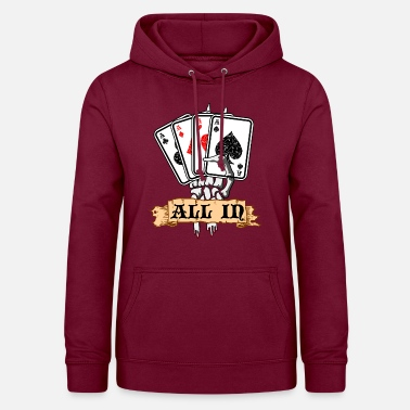 Gioco Poker Poker All In Poker Carte da casinò Ass - Felpa con cappuccio da donna