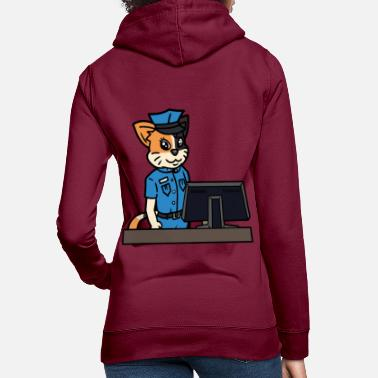 Police Station Cat policewoman police police station office profession - Women's Hoodie