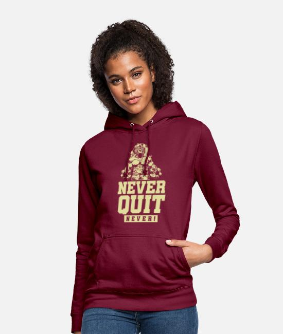 Training Hoodies & Sweatshirts - Lion Beast Gym Never Quit - Women's Hoodie bordeaux