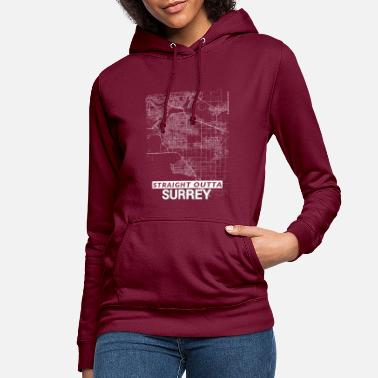 Surrey Map Straight Outta Surrey city map and streets - Women's Hoodie