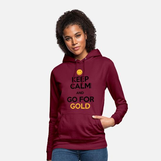 Smileys Felpe - SmileyWorld Keep Calm and Go for Gold - Felpa con cappuccio donna rosso bordeaux