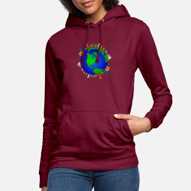 World globe and buildings - Women's Hoodie