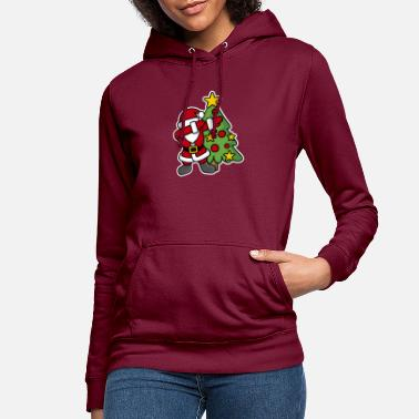 Kid Dabbin' around the Christmas tree - Women's Hoodie