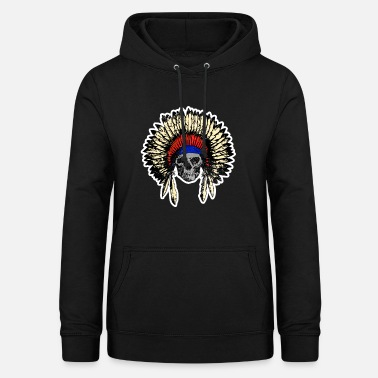 Native American Skull USA indian chief death - Women's Hoodie