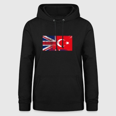 British Turkish Half Turkey Half UK Flag - Women's Hoodie