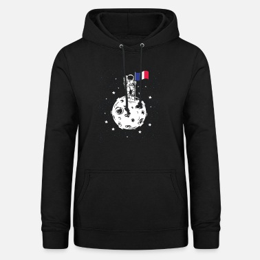 French Flag Astronaut with French flag on the moon - Women's Hoodie