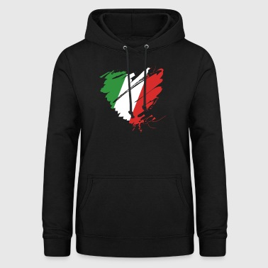 Coeur Cuore Italie Calcio Italiano Football - Sweat à capuche Femme