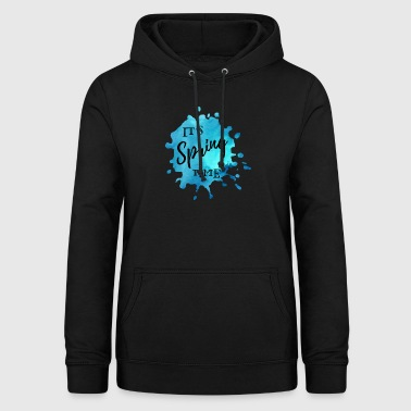 Farbklecks Blau It's Spring Time - Frauen Hoodie