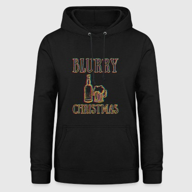 Funny Blurry Christmas Pun Alcohol Humor Gift Idea - Women's Hoodie