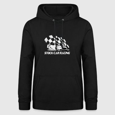 Stock Car Racing car and flag - Women's Hoodie