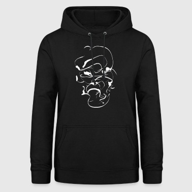 Samurai ink face / Abstract minimal mask - Women's Hoodie