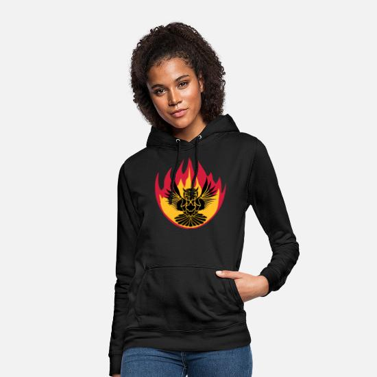 Blaze Hoodies & Sweatshirts - fire flame burn hot owl tattoo uhu fly - Women's Hoodie black
