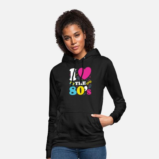 80s Hoodies & Sweatshirts - Love the 80's; Retro Eighties TShirt 1980s Neon - Women's Hoodie black