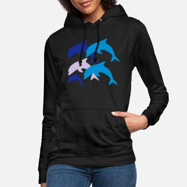 Océan Dolphins with Baby - Women's Hoodie