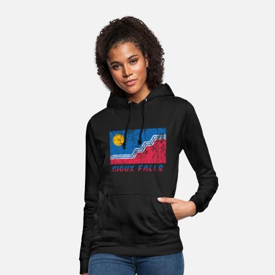 Native American Hoodies & Sweatshirts - flag of Sioux Falls Dakota Usa Fahne Flagge - Women's Hoodie black
