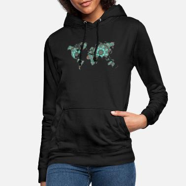 World Map World map with mandala gift map - Women's Hoodie