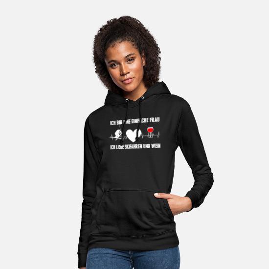 Ski Wein Herzschlag Frequenz Skifahrerin Frauen Hoodie