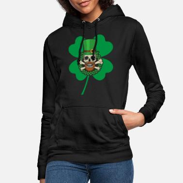 Over Patrick's Day Skull Green - Women's Hoodie