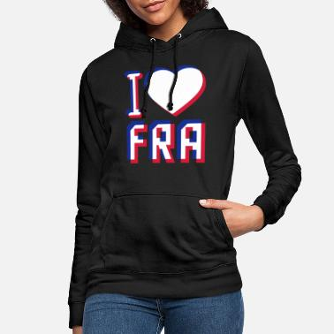 3d I Love FRA France 3D effect France colors blue - Women's Hoodie