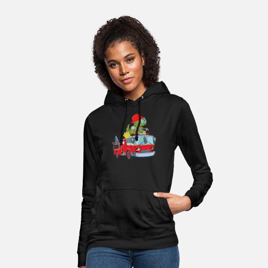 Occupation Hoodies & Sweatshirts - Fire department car emergency vehicle with Dino - Women's Hoodie black