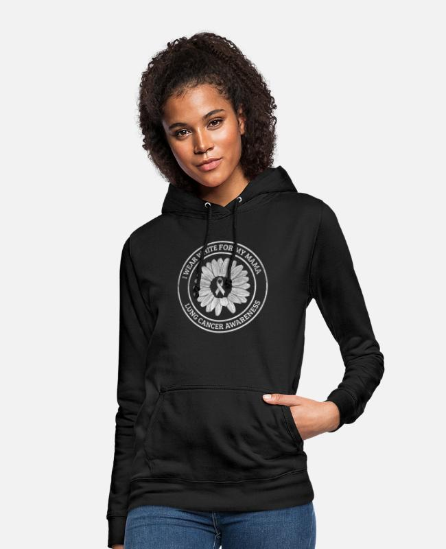 Lung Cancer Hoodies & Sweatshirts - White ribbon mummy lung cancer awareness gift - Women's Hoodie black