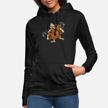 Thanksgiving Turkey Working Out - Women's Hoodie