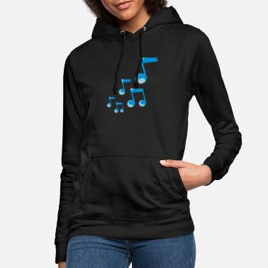 Music Blue glossy music notes - Women's Hoodie