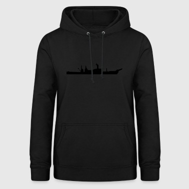 Vector Navy warship Silhouette - Sweat à capuche Femme