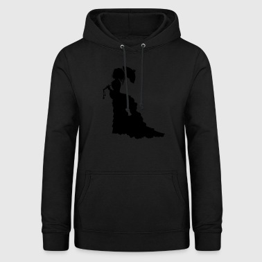 Black Baroque Lady silhouette with umbrella - Women's Hoodie