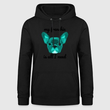 Low Poly Frenchie cyan - Women's Hoodie