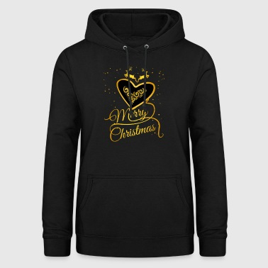 gold heart Glamour Christmas Xmas Moose star - Women's Hoodie