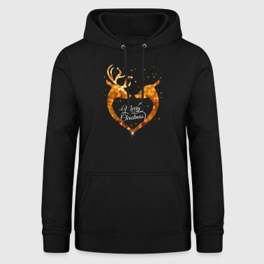 Heart Christmas Glamour Gold deer deer Love romant - Women's Hoodie