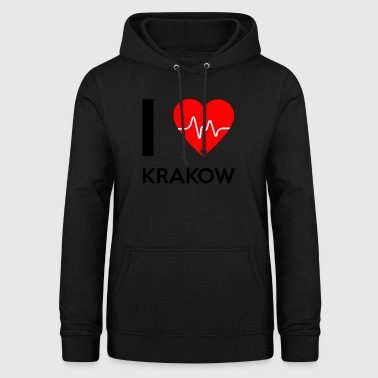 J'aime Cracovie - I love Cracovie - Sweat à capuche Femme