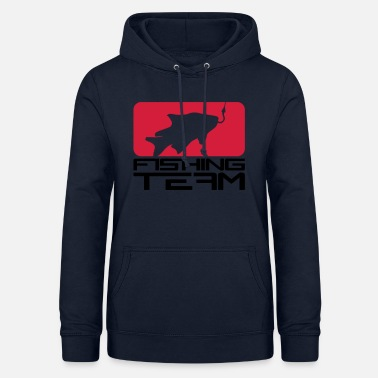 Bait red black fishing team sport logo caught fish - Women's Hoodie