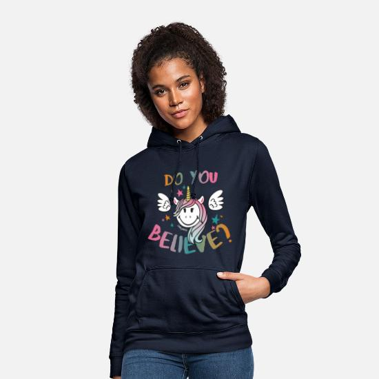 Unicorn Hoodies & Sweatshirts - SmileyWorld Do You Believe? - Women's Hoodie navy