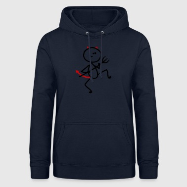 Devil stick figure devil horns cock - Women's Hoodie