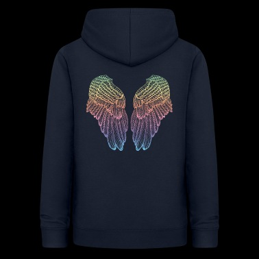Heart Shaped Rainbow Feather Angel Wings - Women's Hoodie