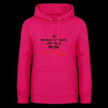 PEACE LOVE YOURSELF FUCK iron cross biker rocker e - Frauen Hoodie