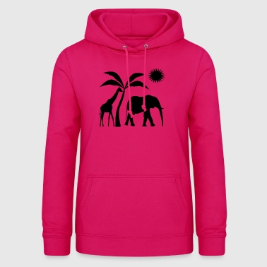 africa elephant and girafe t-shirt - Women's Hoodie